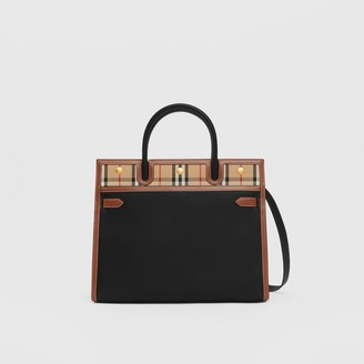 Burberry Small Leather and Vintage Check Two-handle Title Bag