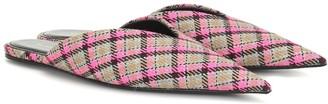 Balenciaga Knife checked wool slippers
