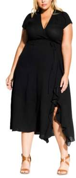 City Chic Trendy Plus Size Ruffled Fit & Flare Dress