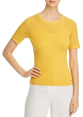 T Tahari Ribbed Short-Sleeve Sweater