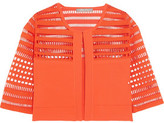Lela Rose Cutout-Paneled Stretch-Knit Cropped Jacket