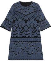 Anna Sui Denim-Appliquéd Lace Mini Dress