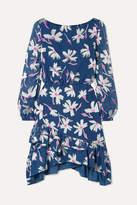 Saloni Felicia Ruffled Fil Coupe Silk-blend Chiffon Mini Dress - Blue
