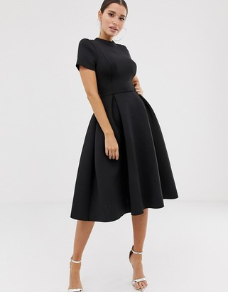 Asos Design DESIGN T-Shirt open back prom midi dress-Black