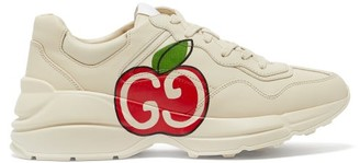 Gucci Rhyton Apple-print Leather Trainers - Womens - White Multi