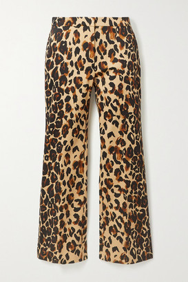 Thierry Mugler Cropped Leopard-print Cotton-blend Flared Pants - Leopard print