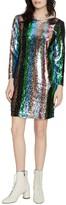 Sanctuary Over the Rainbow Sequin Stripe Long Sleeve Minidress