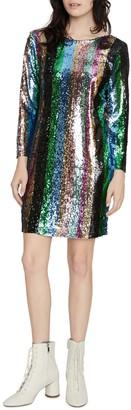 Sanctuary Over the Rainbow Sequin Stripe Long Sleeve Mini Dress