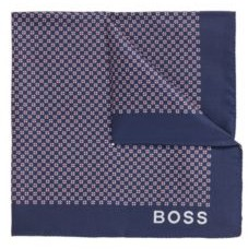HUGO BOSS Italian Made Silk Pocket Square With New Season Print - Dark Blue