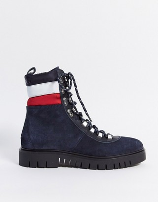 Tommy Hilfiger Tommy Jeans suede lace up hiker boots in navy
