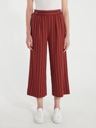 J.o.a. Woven Side Button Wide Leg Pants