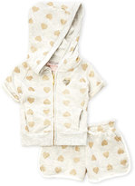Juicy Couture Toddler Girls) Two-Piece Glitter Heart Hoodie & Shorts Set