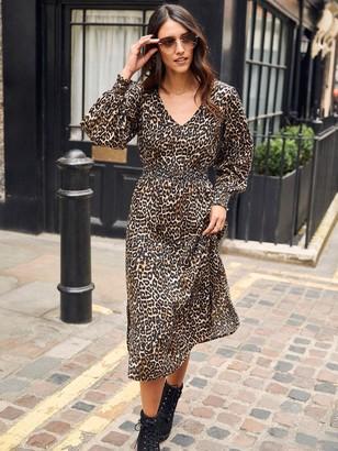 Dorothy Perkins ShirredWaist V Neck Midi Leopard Print Dress - Brown