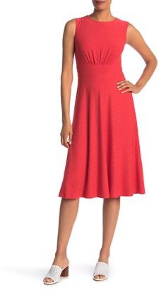 London Times Sleeveless Eyelet Midi Dress