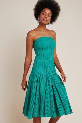 Maeve Lelia Eyelet Midi Dress By in Green Size 0