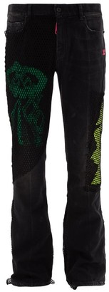 Off-White X Ev Bravado Mesh-panelled Denim Jeans - Black Multi