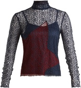 House of Holland Contrast-panel high-neck lace top