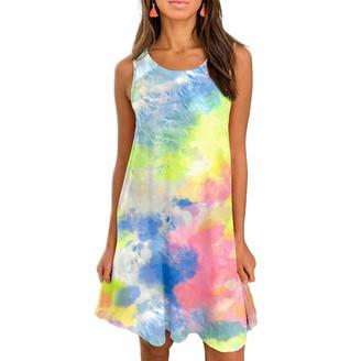 Yutu Women Dresses Summer Plus Size Elegant Ladiess UK Tie-Dye Irregular Hem Casual Swing Mini Tee Tank Dress