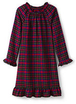 Lands' End Girls Flannel Nightgown-Rich Red Solstice Plaid