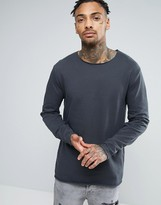 Asos Longline Sweatshirt With Raw Edge Hem