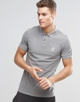 Boss Orange Polo Shirt With Logo In Slim Fit Grey