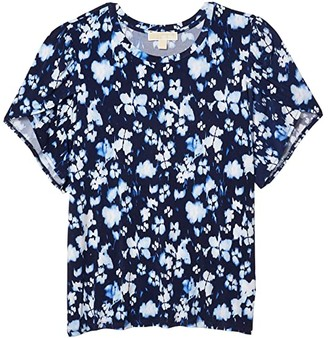 MICHAEL Michael Kors Size Poppy Ikat Petal Sleeve Tee (True Navy) Women's Clothing