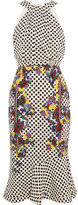 Saloni Ruby Embellished Printed Silk Midi Dress - White