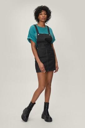 Nasty Gal Womens Be Stripe Back Denim Overall Dress - Black