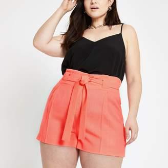 River Island Womens Plus bright Orange tie waist shorts