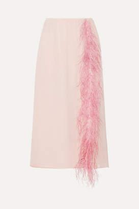 Prada Feather-trimmed Silk-georgette Midi Skirt - Pastel pink
