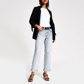 River Island Petite light blue Mom high rise jeans