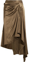 MM6 MAISON MARGIELA Convertible Asymmetric Satin Midi Skirt - Army green