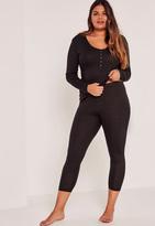 Missguided Plus Size Black Ribbed Pajama Set