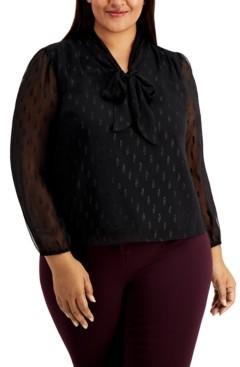 Alfani Plus Size Tie-Neck Textured Top, Created for Macy's
