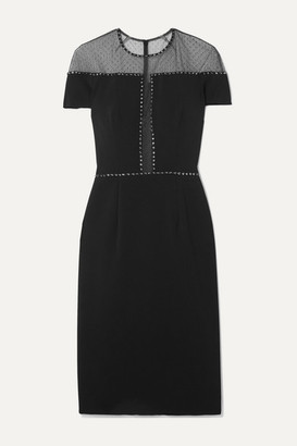Jenny Packham Dora Studded Swiss-dot Mesh And Stretch-crepe Dress - Black