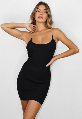 Missguided Black Transparent Strap Knit Mini Dress