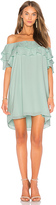 Krisa Off Shoulder Ruffle Dress in Mint. - size M (also in S,XS)