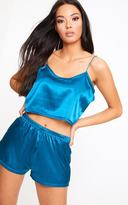 PrettyLittleThing Teal Satin Pyjama Shorts Set
