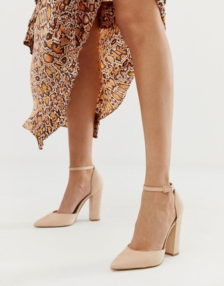 Aldo Nicholes block heeled court shoes with ankle strap in beige