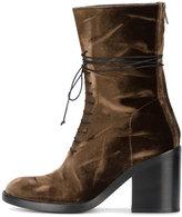 Ann Demeulemeester lace-up block heel boots - women - Leather/Velvet - 35
