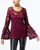INC International Concepts Lace Bell-Sleeve Top, Created for Macy's