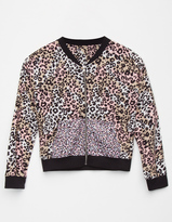 Full Tilt Leopard Girls Bomber Jacket