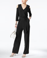 NY Collection Off-The-Shoulder Faux-Wrap Jumpsuit