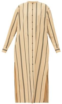 Jil Sander Striped Side-slit Cotton-poplin Kaftan - Womens - Beige Multi