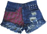 Excess Baggage Women's High Waisted Destroyed Plaid Studded Levi Fringe Grunge Shorts-L