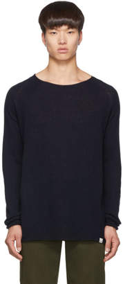 Junya Watanabe Navy Merz B. Schwanen Edition Wool and Silk Knit Sweater
