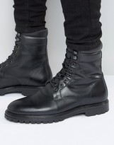 Asos Lace Up Boots In Black Leather