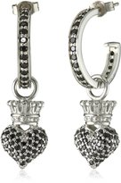 "King Baby Studio Crowned Heart"" Small Pave Cubic Zirconia Crowned Heart Hoop Earrings"
