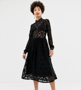 NA-KD Na Kd long sleeve midi dress with lace detail in black