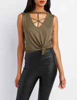 Charlotte Russe Strappy Caged O-Ring Tank Top